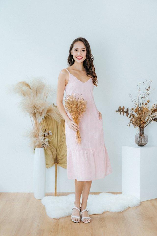 Alessia Textured Swiss Dot Ruffles Dress in Pink