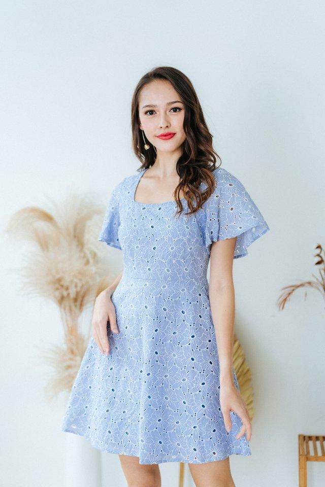 Jaela Square Neck Eyelet Dress in Powder Blue (XS)