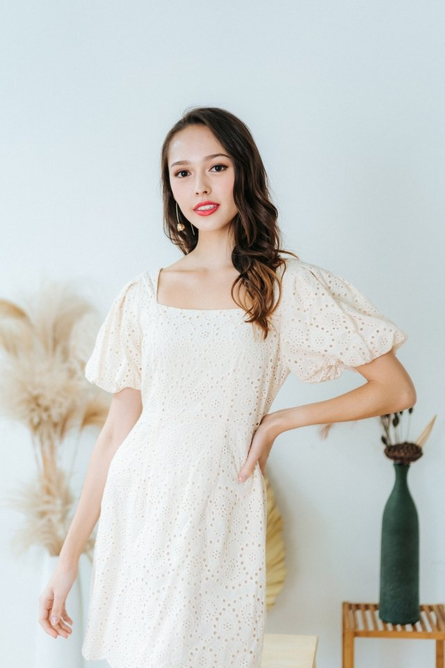 Racquel Eyelet Puffed Sleeves Dress in Cream
