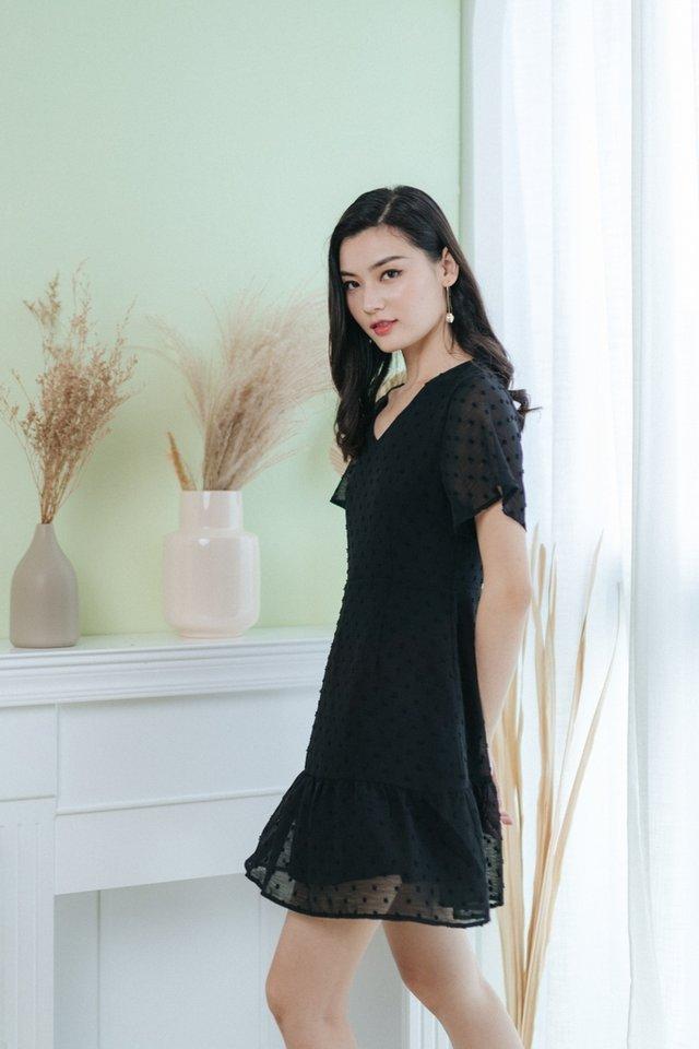Karely Swiss Dot Dropwaist Dress in Black