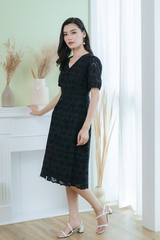 *BACKORDER* Corinne Eyelet Button Midi Dress in Black