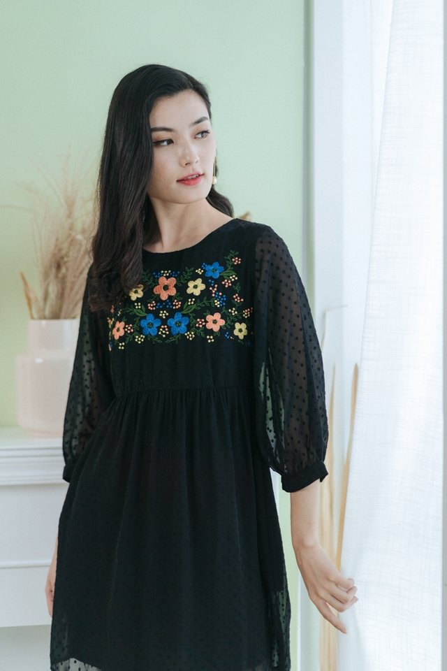 Zoe Floral Embroidery Babydoll Dress in Black