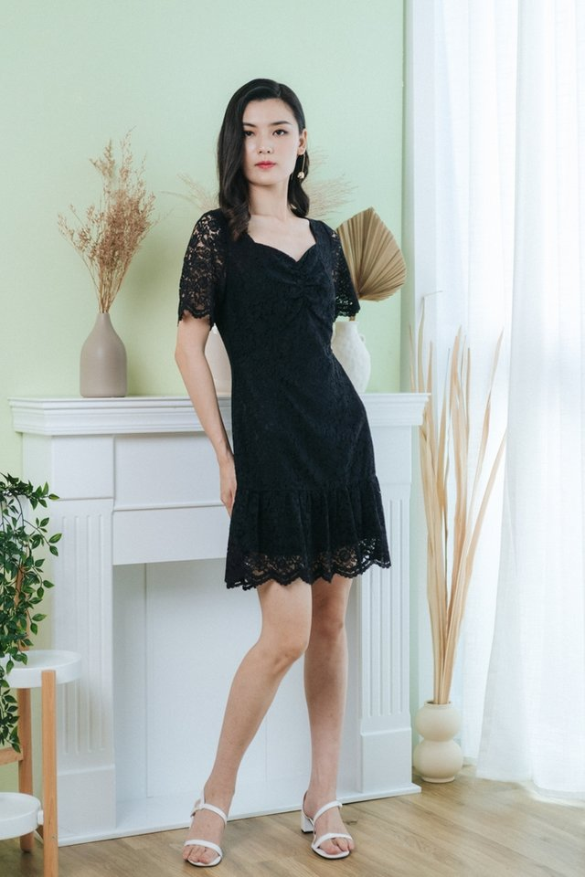 Cerise Lace Ruched Dropwaist Dress in Black