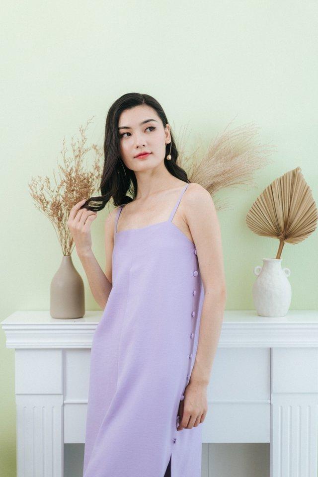 Jacelyn Side Button Midi Dress in Lilac