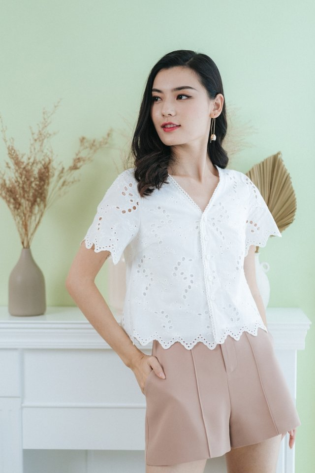 Amelia Eyelet Button Top in White