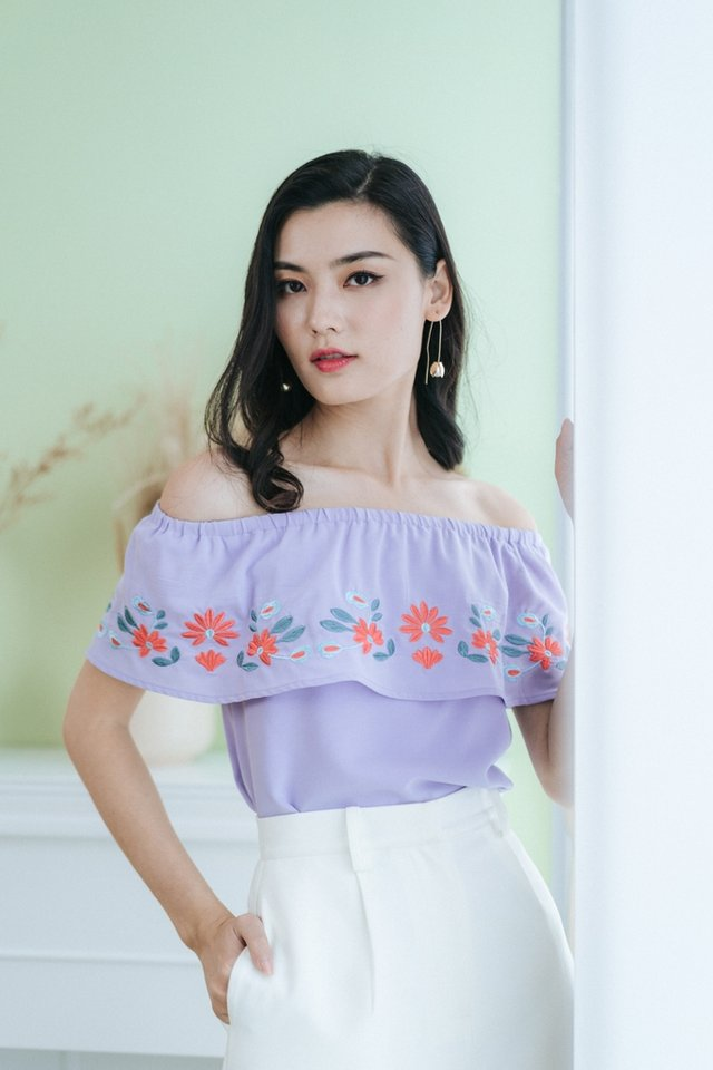 Ayla Floral Embroidery Off-Shoulder Top in Lilac