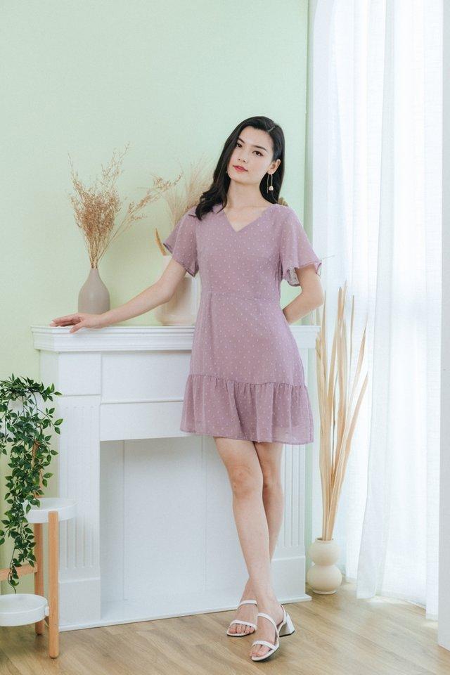 Karely Swiss Dot Dropwaist Dress in Dusty Lilac