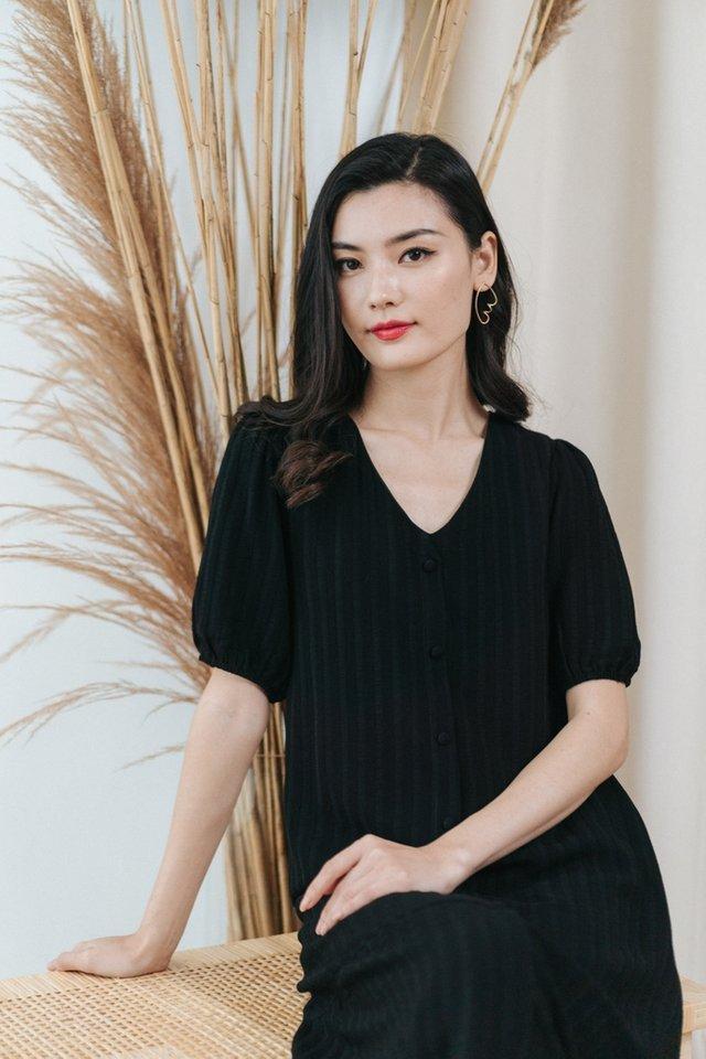 Kamila Textured Button Midi Dress in Black
