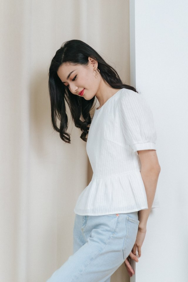 Nora Textured Babydoll Top in White