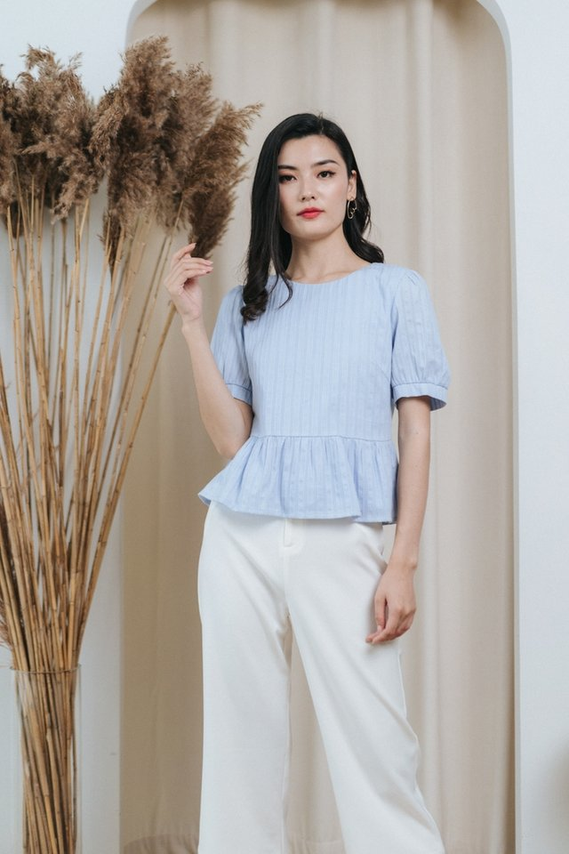 Nora Textured Babydoll Top in Baby Blue