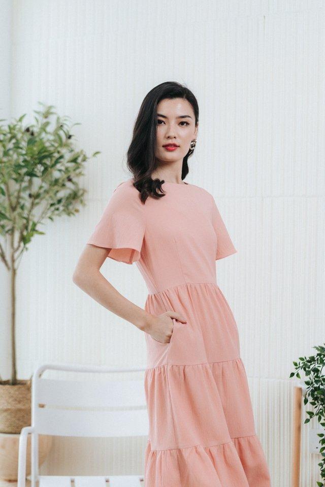 Pamella Textured Tiered Midi Dress in Blush