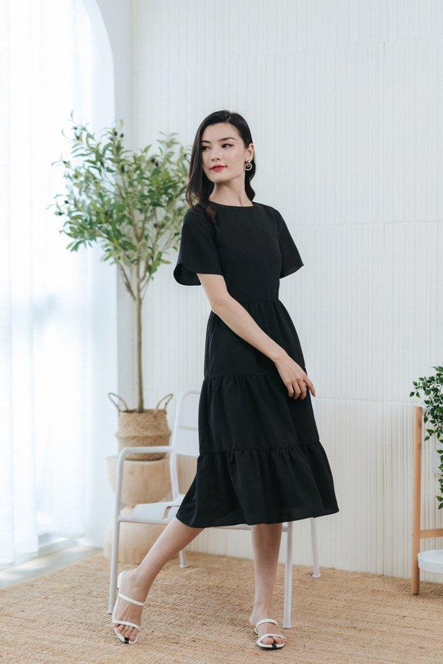 Pamella Textured Tiered Midi Dress in Black