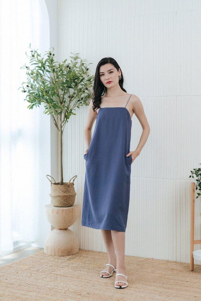 Asma Camisole Midi Dress in Blue