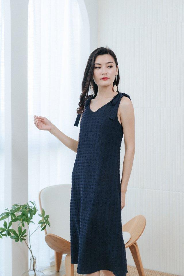 Arlette Textured Ribbon Midi Dress in Dark Navy