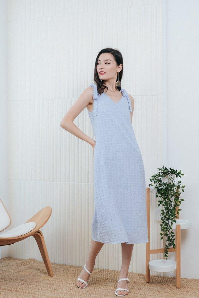Arlette Textured Ribbon Midi Dress in Baby Blue