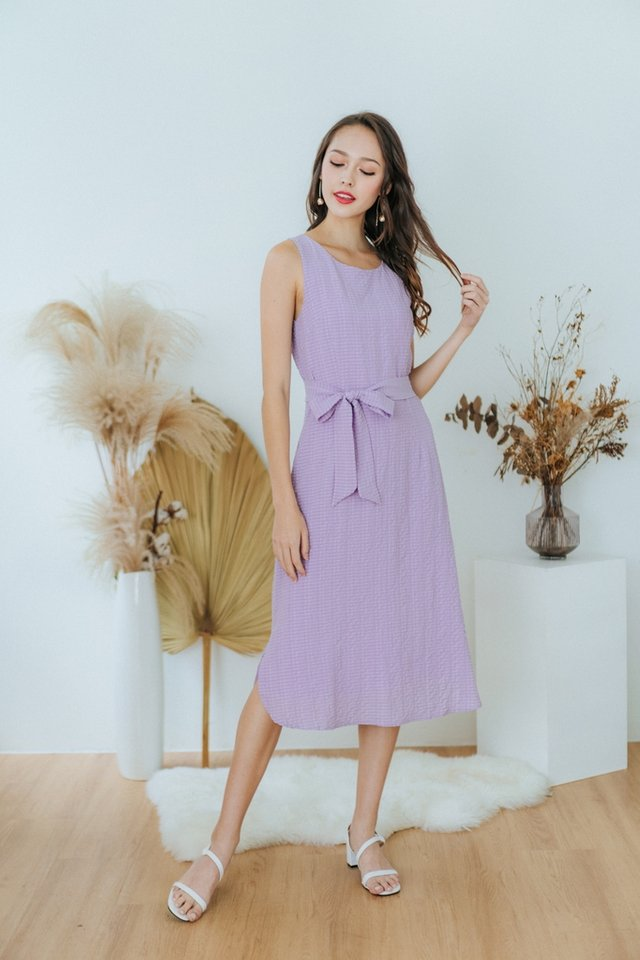 Coraline Textured Midi Dress in Lilac