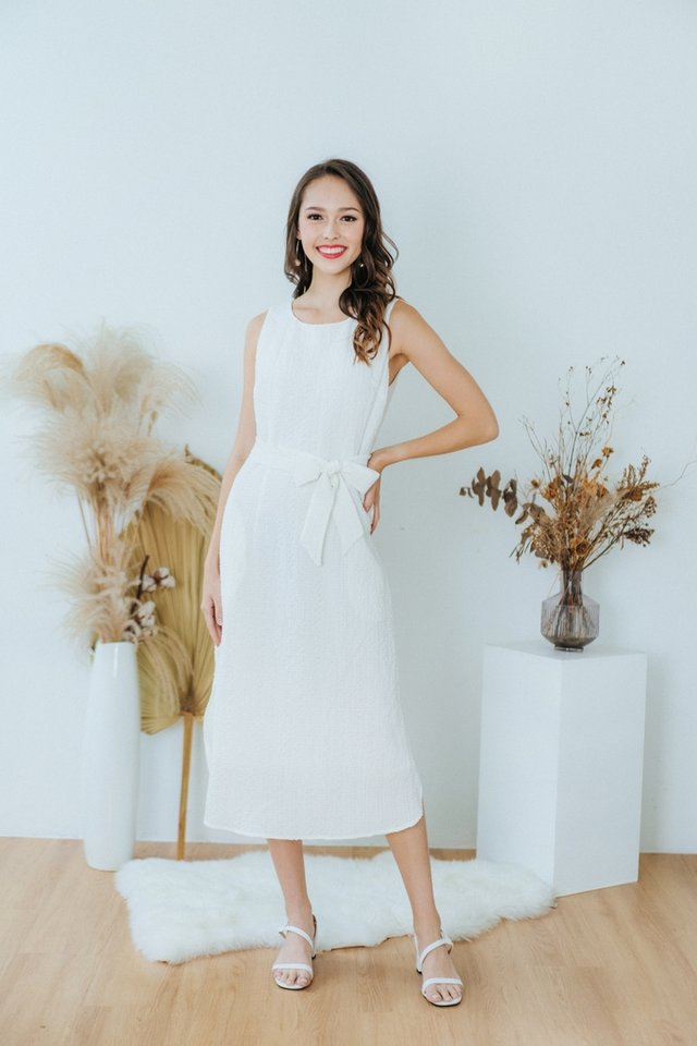 Coraline Textured Midi Dress in White