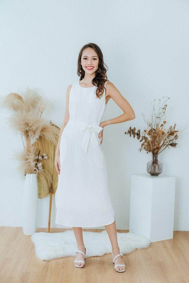 Coraline Textured Midi Dress in White