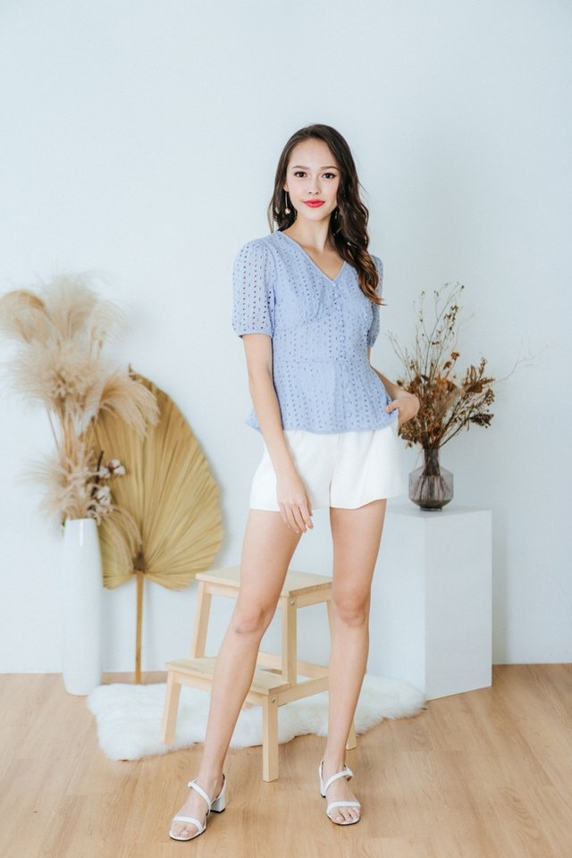 Delphine Eyelet Button Top in Powder Blue