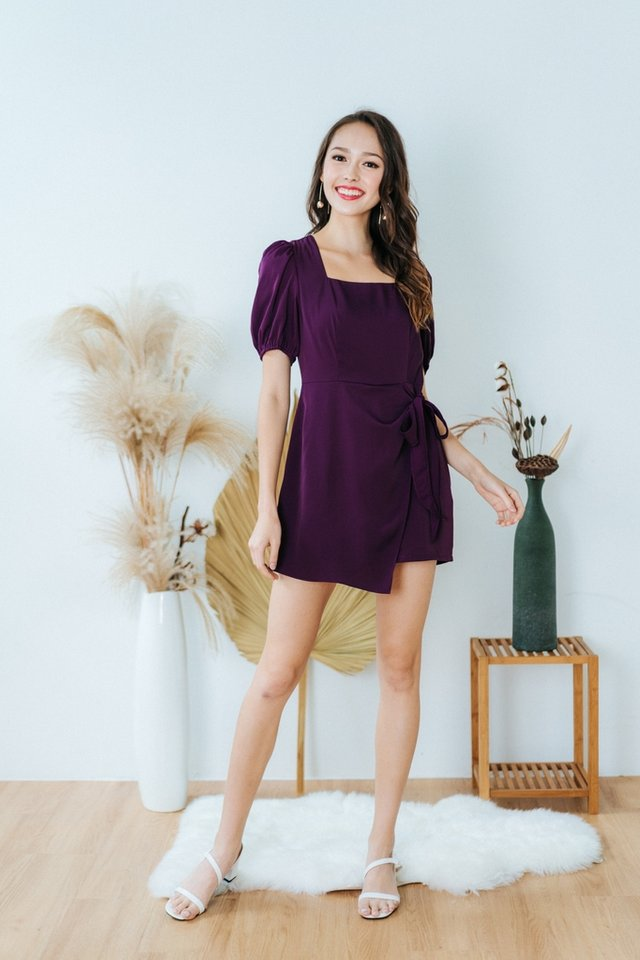 Denise Square Neck Overlap Romper in Dark Purple