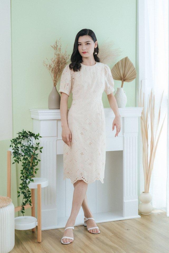 Gracen Floral Eyelet Midi Dress in Cream