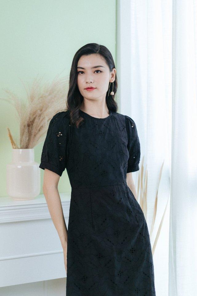 Gracen Floral Eyelet Midi Dress in Black