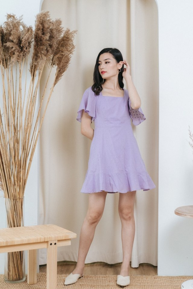 Darcy Swiss Dot Dropwaist Dress in Lilac