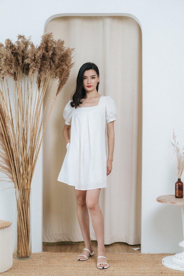 Axella Square Neck Dress in White