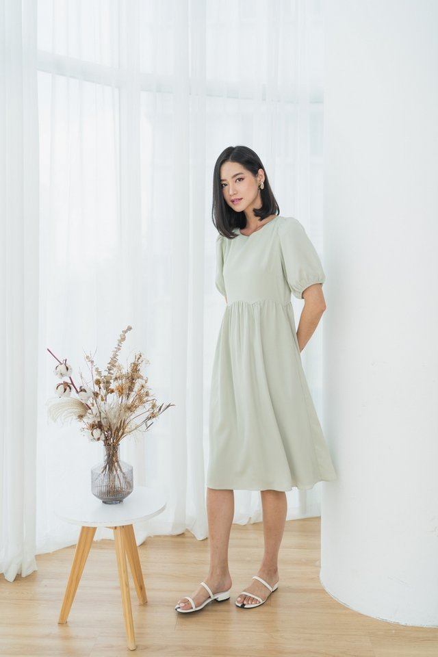 *BACKORDER* Jamie Scallop Babydoll Midi Dress in Light Sage
