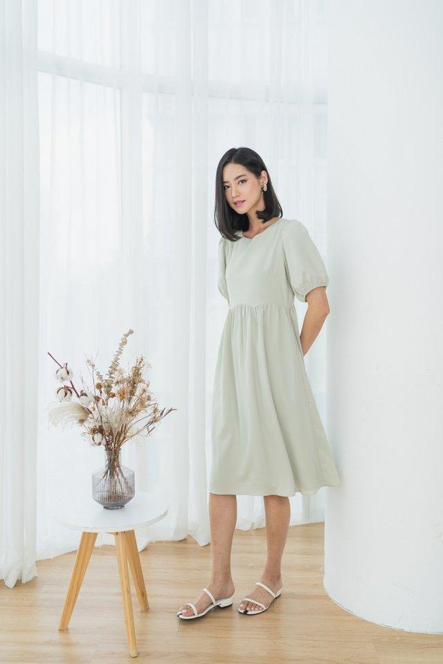 Jamie Scallop Babydoll Midi Dress in Light Sage