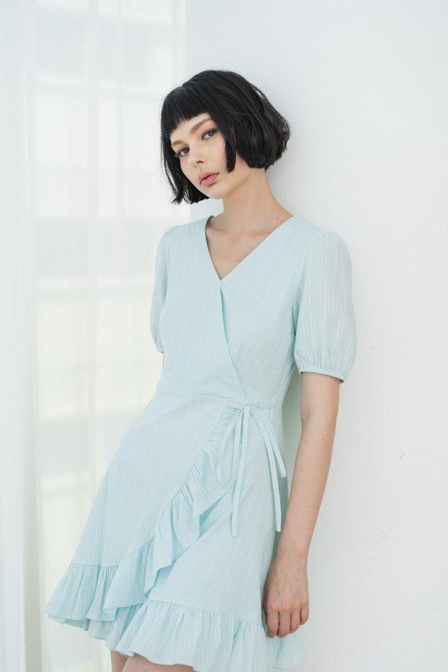 Avril Textured Signature Ruffles Dress in Tiffany
