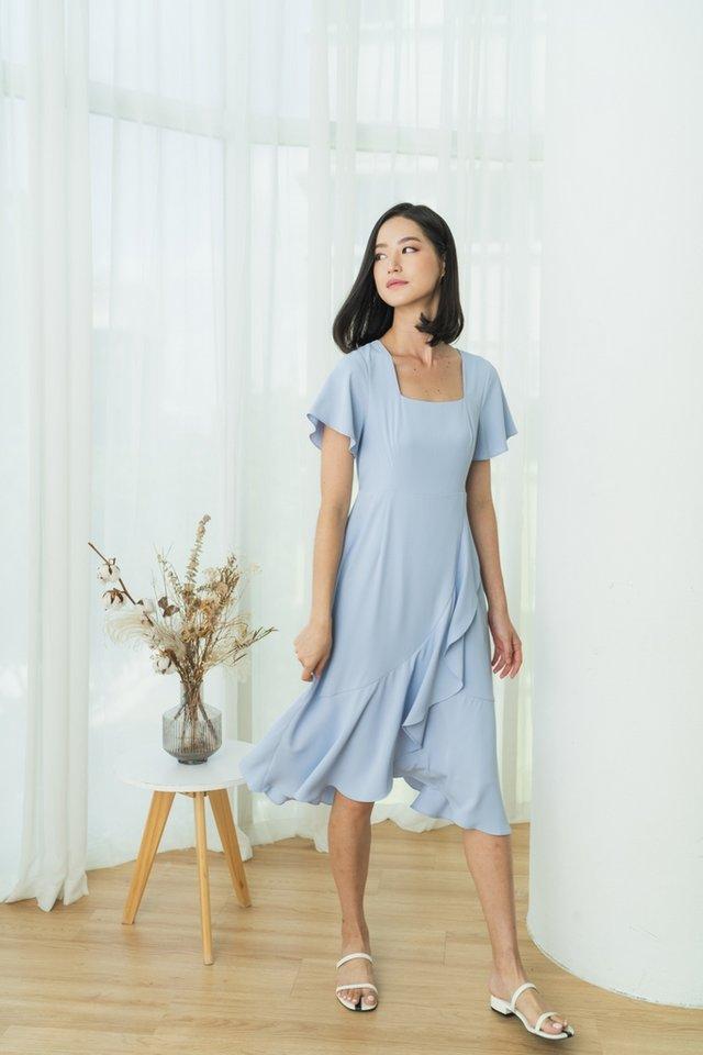 Lune Square Neck Ruffles Midi Dress in Baby Blue