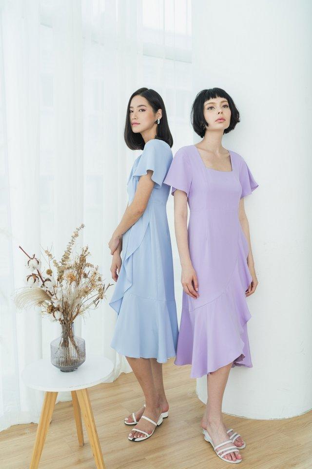 Lune Square Neck Ruffles Midi Dress in Lilac