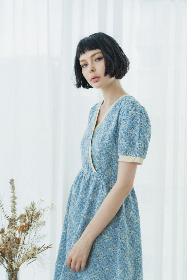 Marie Bohemian Eyelet Wrap Midi Dress in Denim Blue