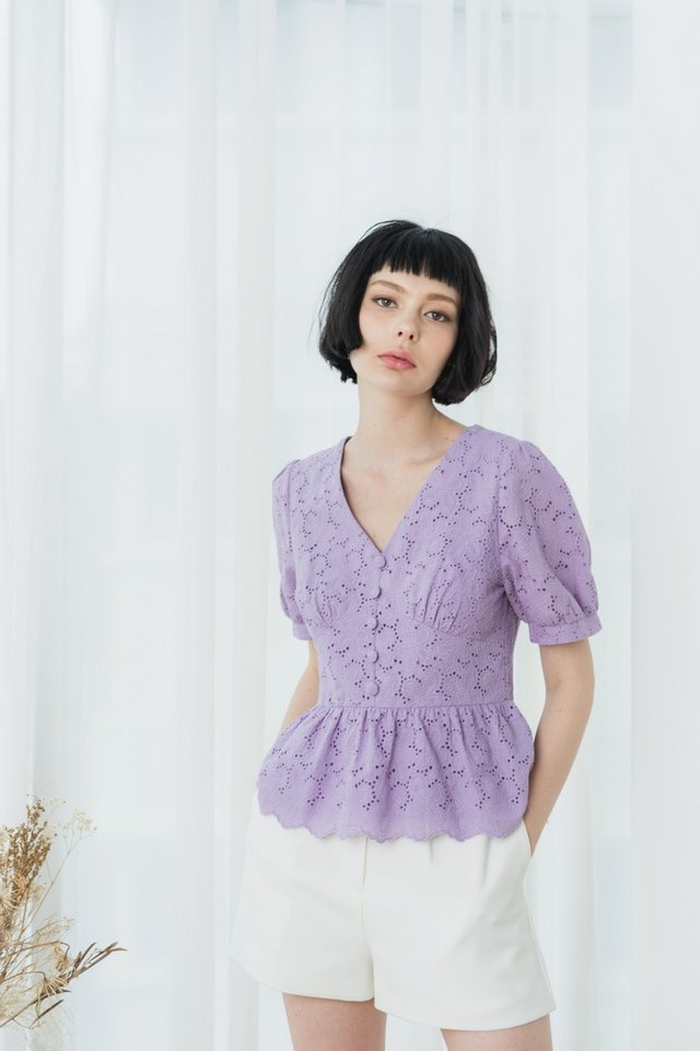 Fawn Eyelet Babydoll Top in Lilac