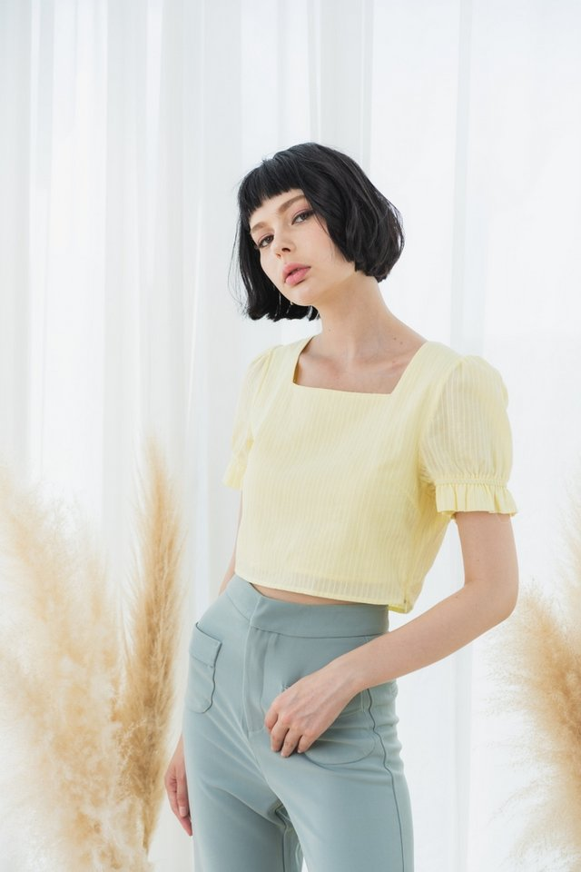 Iva Textured Puffed Sleeves Crop Top in Daffodil Yellow