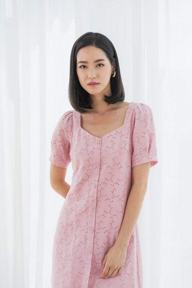 Jayana Eyelet Button Dress in Pink