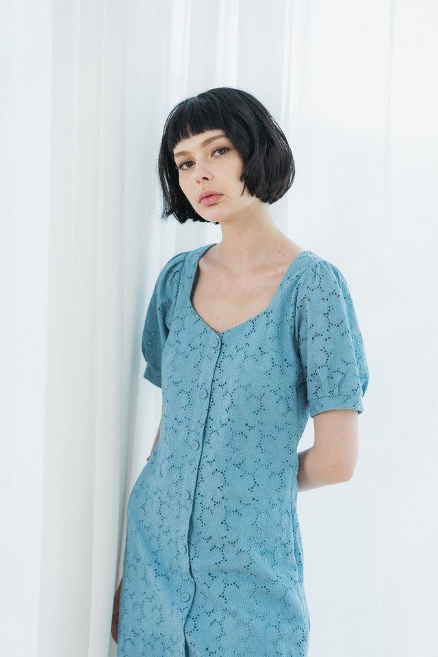 Jayana Eyelet Button Dress in Cornflower Blue
