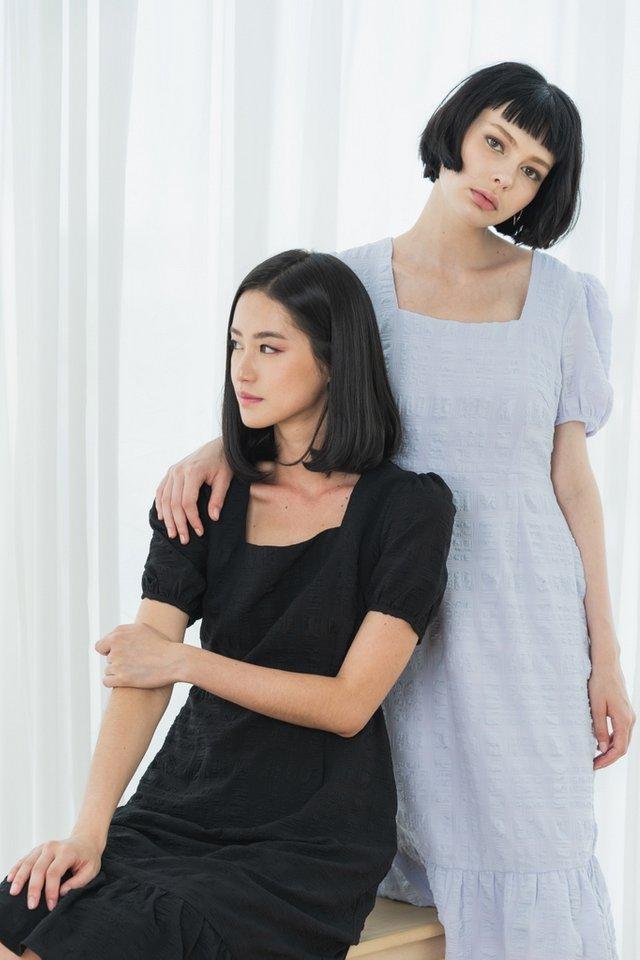 Glynne Textured Dropwaist Midi Dress in Black