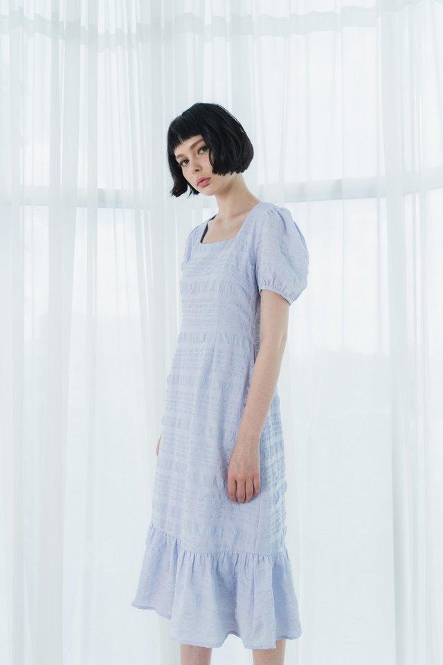 Glynne Textured Dropwaist Midi Dress in Powder Blue