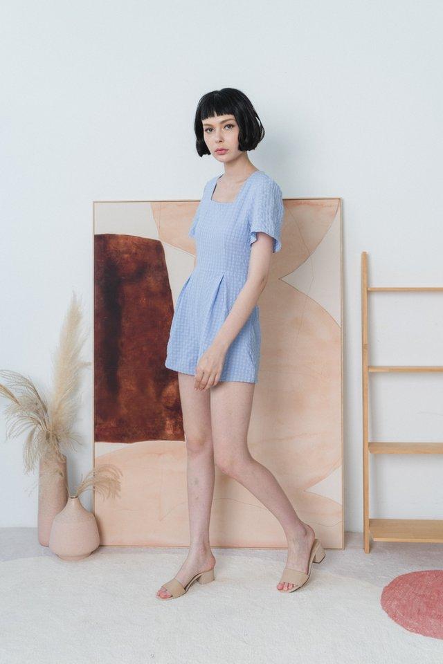 Alana Textured Square Neck Romper in Blue