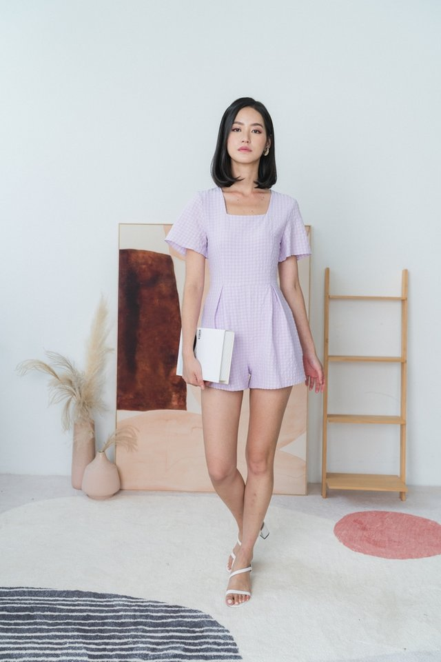 Alana Textured Square Neck Romper in Lilac Pink