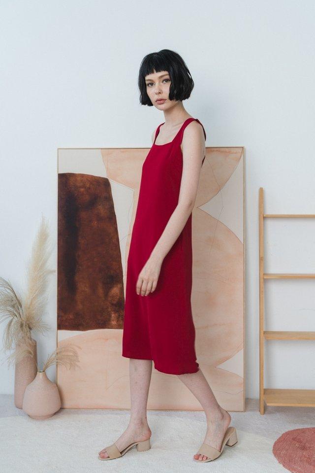 Jaylah Halter Midi Dress in Red