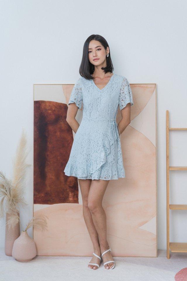Juliet Lace Signature Ruffles Dress in Light Blue