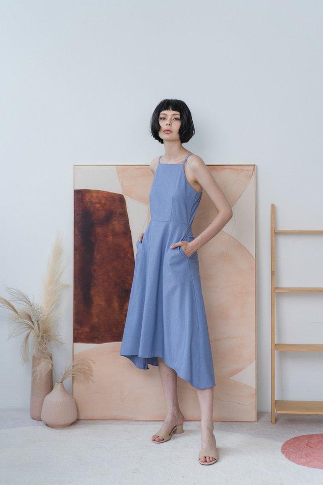 Emory Halter Midi Dress in Blue