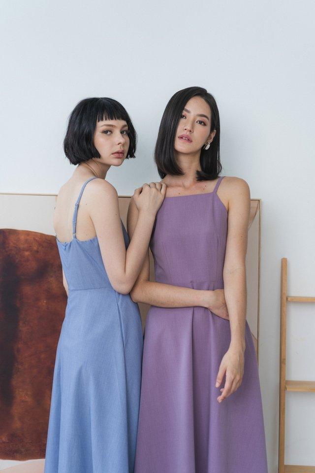 Emory Halter Midi Dress in Purple