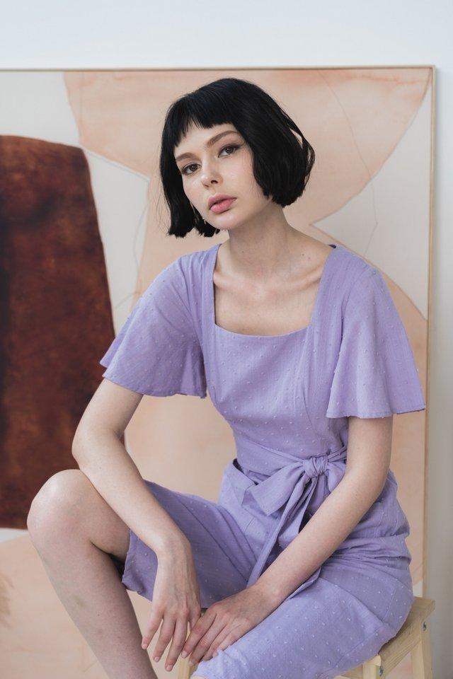 Karter Swiss Dot Pocket Jumpsuit in Lilac
