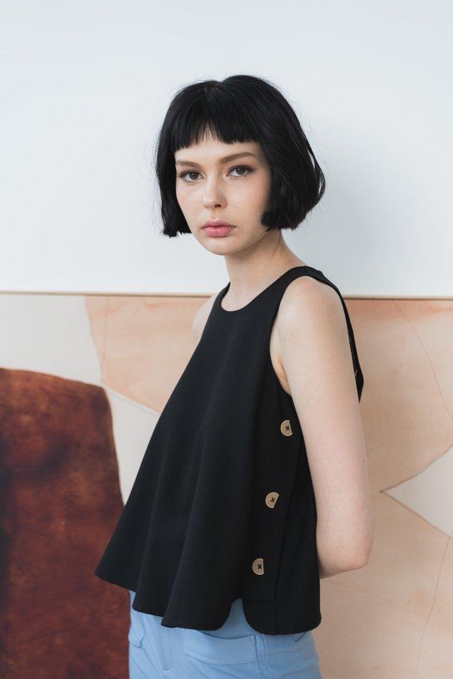 Jenesis Side Button Top in Black