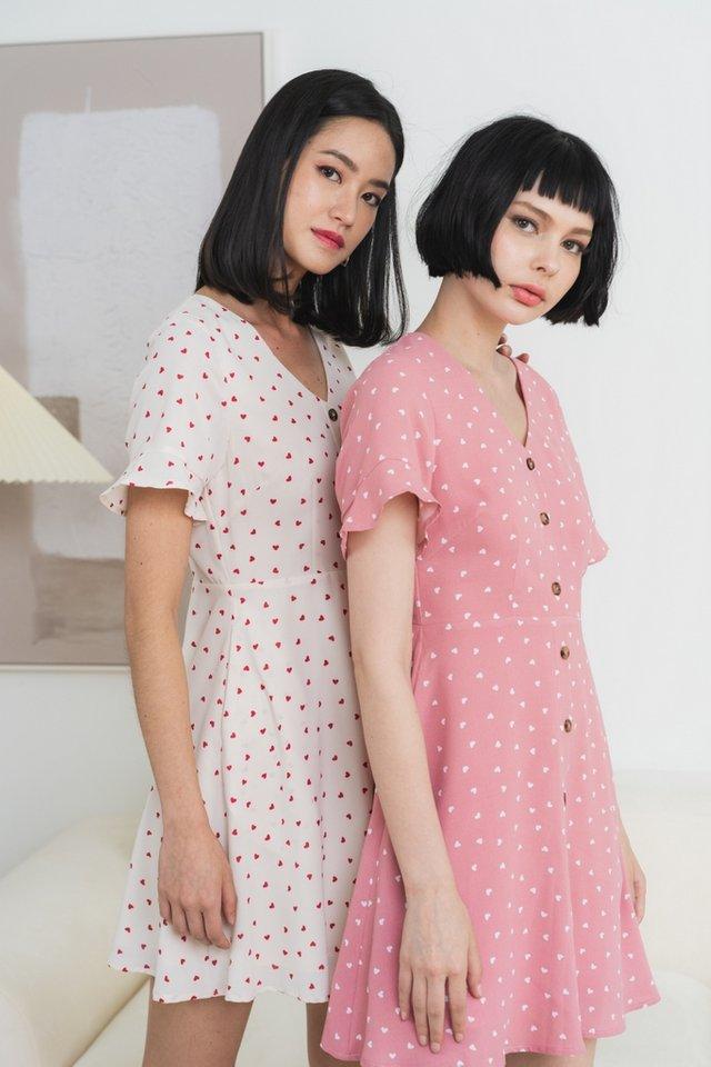 Yara Heart-Shaped Flutter Sleeves Dress in Rose Pink