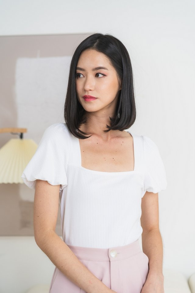 *BACKORDER* Janelia Ribbed Puffed Sleeves Top in White